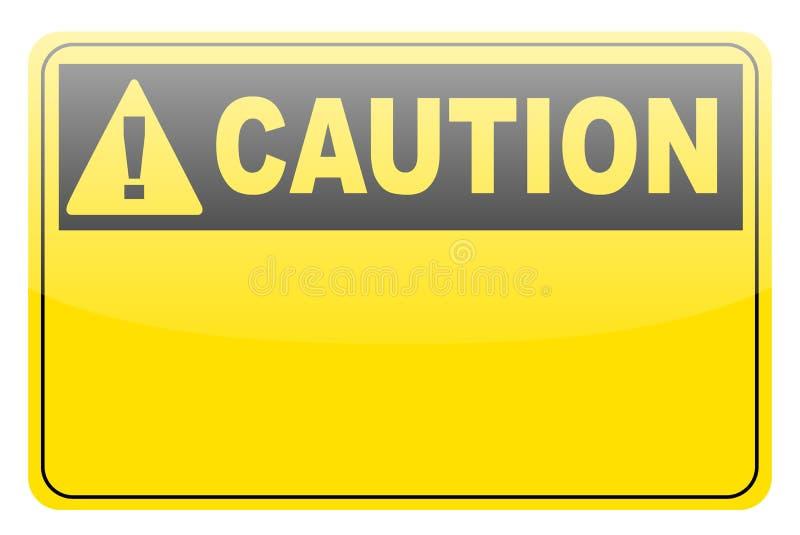 Sinal amarelo em branco da etiqueta do cuidado ilustração royalty free