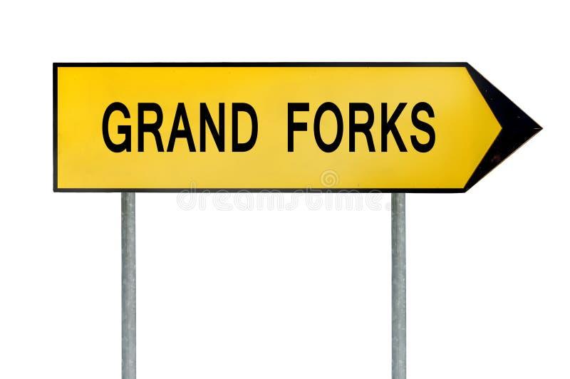 Sinal amarelo Grand Forks do conceito da rua isolado no branco fotos de stock royalty free
