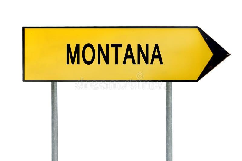 Sinal amarelo Montana do conceito da rua isolado no branco imagem de stock