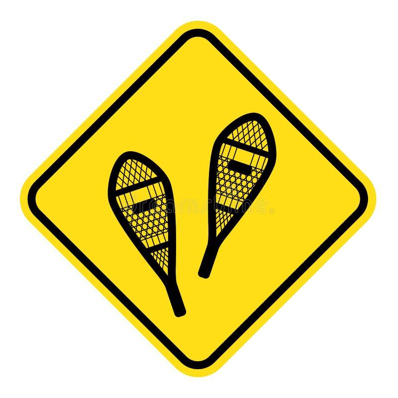 Sinal amarelo para a rota snowshoeing imagens de stock