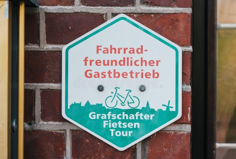 Sinal amigável da bicicleta fotografia de stock
