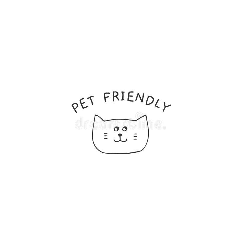 Sinal amigável tirado mão do animal de estimação do vetor, cabeça de um gato curioso ilustração stock