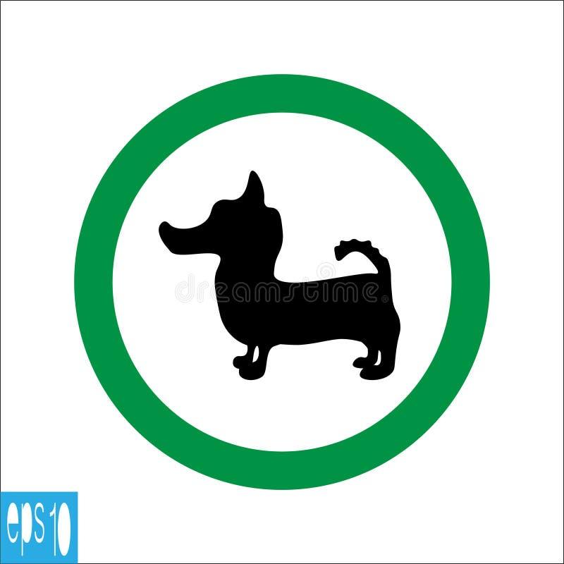 Sinal animal redondo verde, ícone no fundo branco, linha fina verde no fundo branco - ilustração do vetor ilustração royalty free