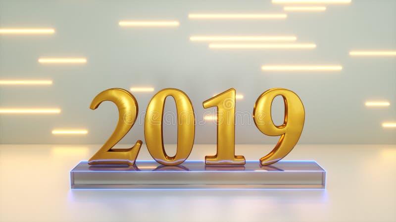 Sinal 2019 anos ilustração stock