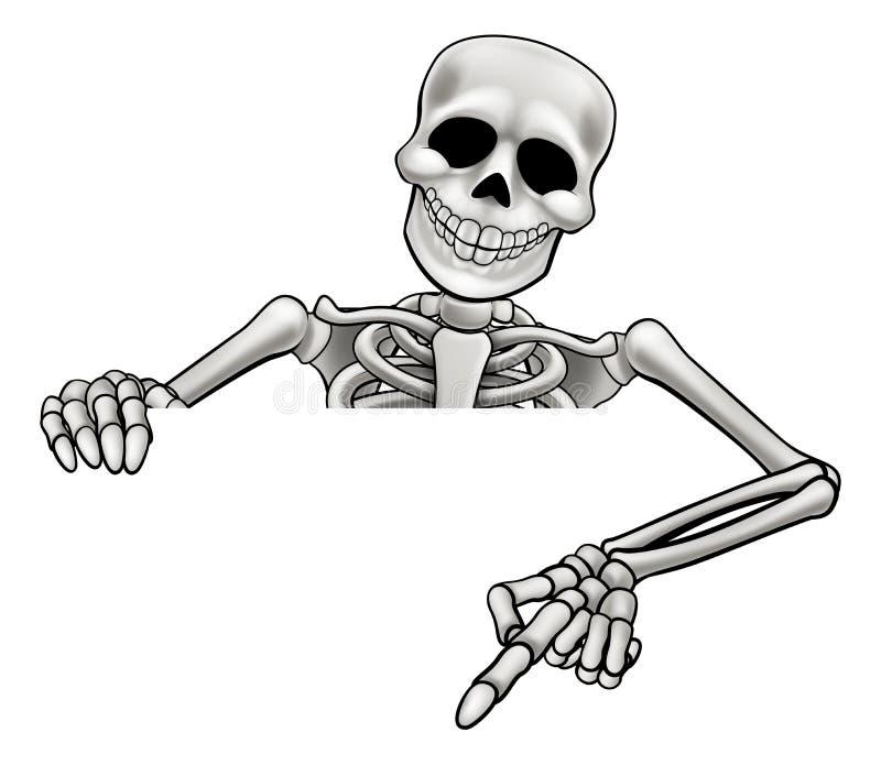 Sinal apontando de esqueleto dos desenhos animados ilustração stock