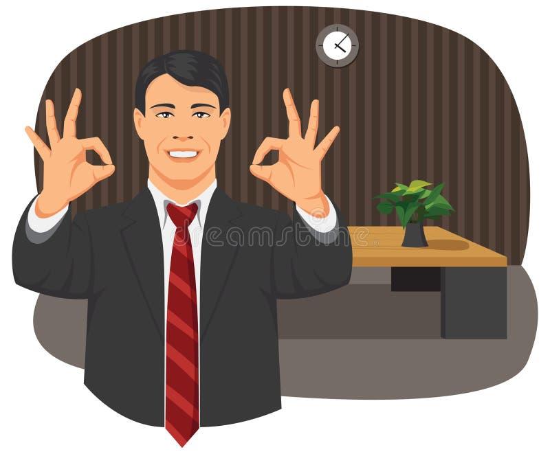 Sinal aprovado do homem de negócios ilustração do vetor