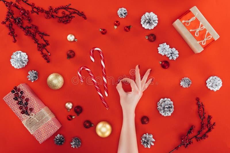Sinal aprovado no christmastime imagens de stock royalty free