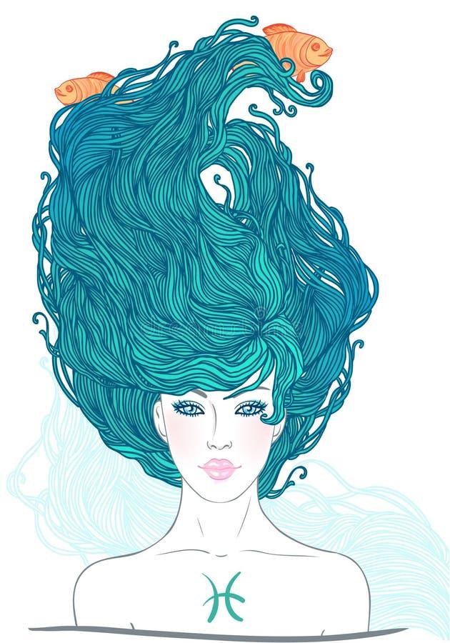 Sinal astrológico de Pisces como uma menina bonita ilustração do vetor