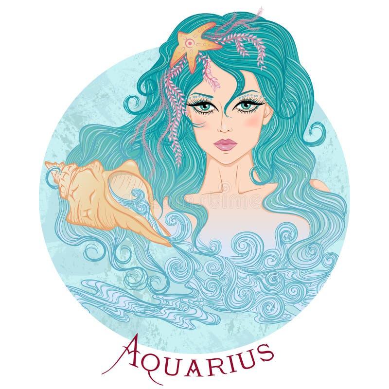 Sinal astrológico do Aquário como uma menina bonita ilustração do vetor
