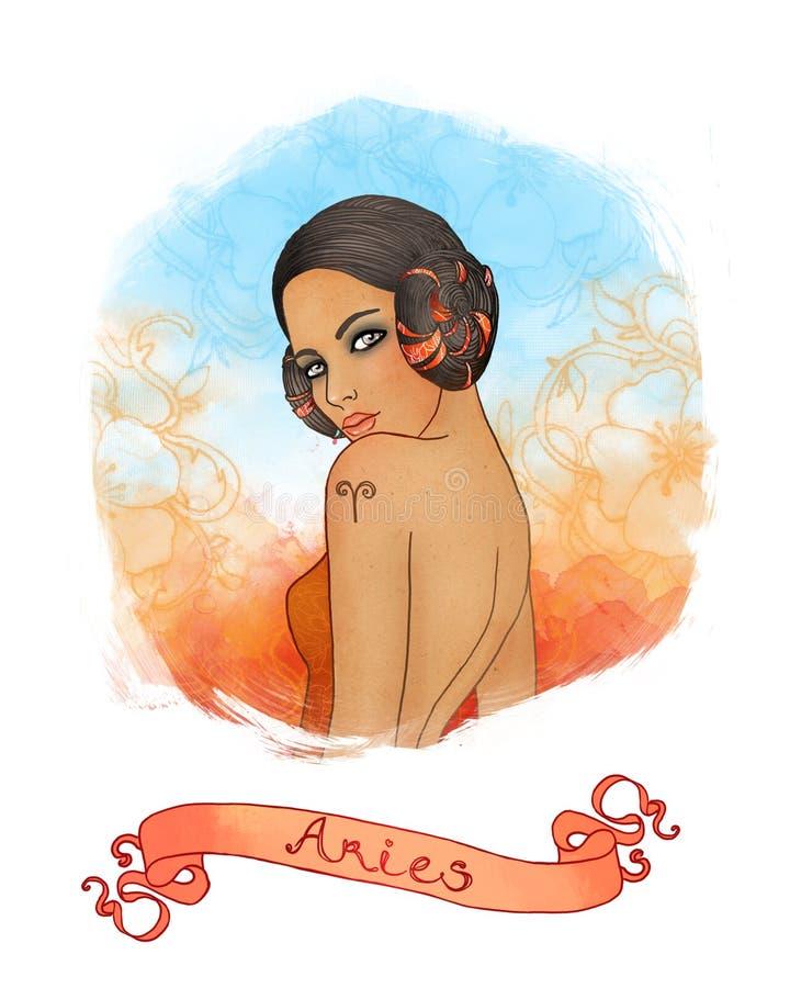 Sinal astrológico do Aries como uma menina bonita ilustração stock