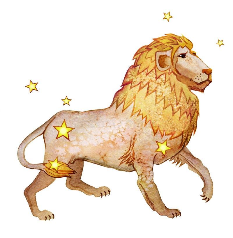 Sinal astrológico do Leão do zodíaco, aquarela no estilo retro, isolado no fundo branco ilustração do vetor