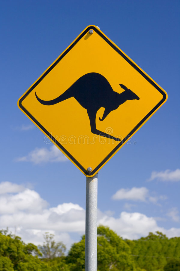 Sinal australiano do canguru imagens de stock