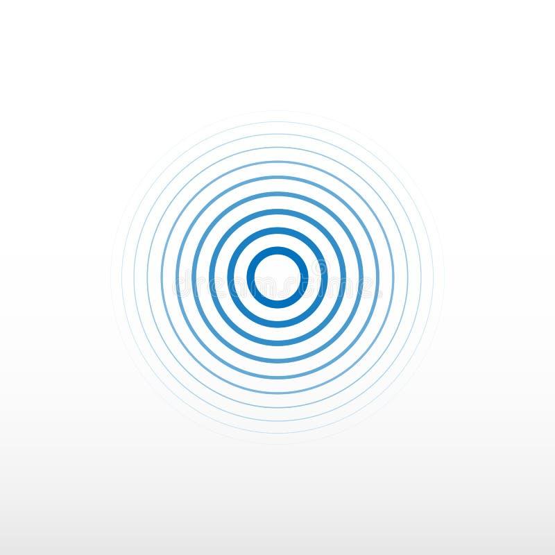 Sinal azul da estação de rádio Fundo da onda sadia Fundo do vetor da rotação do círculo ilustração do vetor