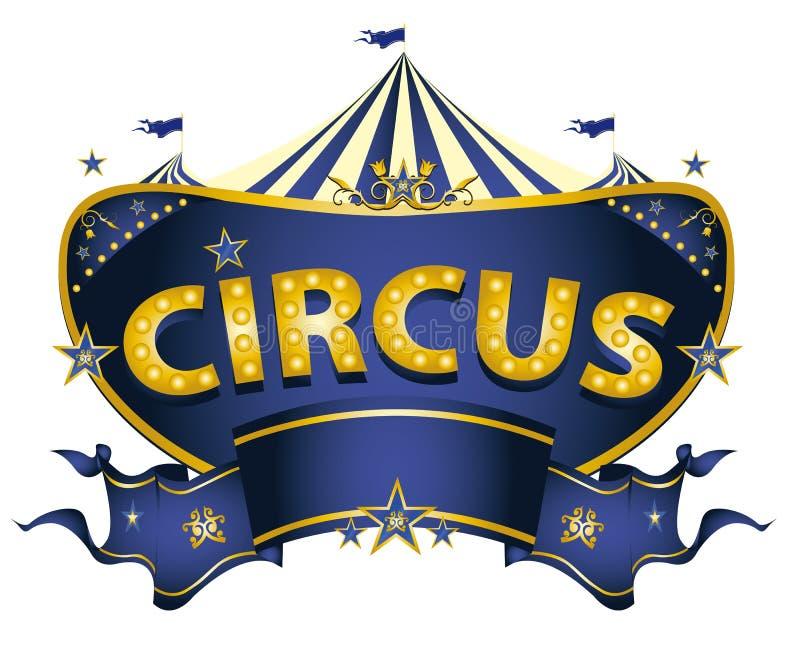 Sinal azul do circo ilustração stock