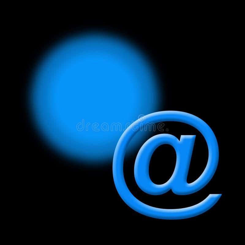 Sinal azul do email no preto ilustração do vetor