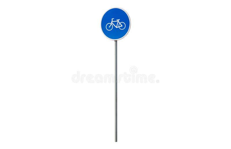 Sinal azul do movimento da bicicleta fotografia de stock royalty free