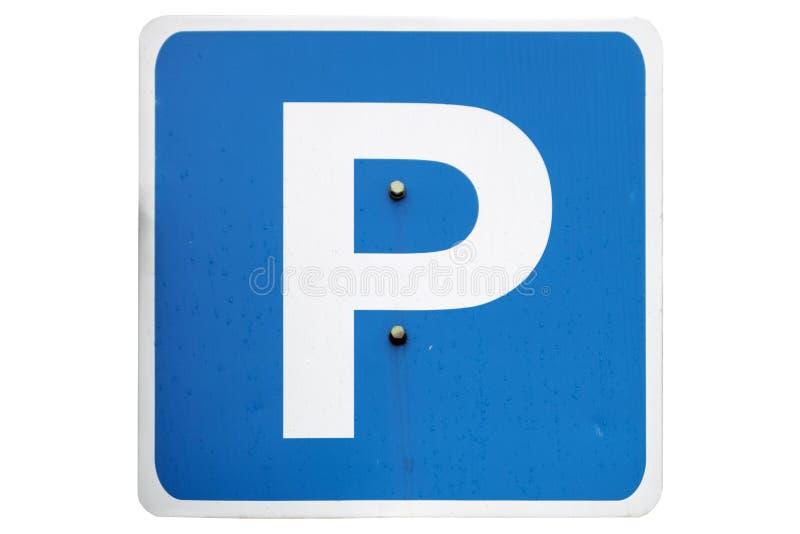 Sinal azul do quadrado da estrada do ` do estacionamento do ` isolado no branco foto de stock royalty free
