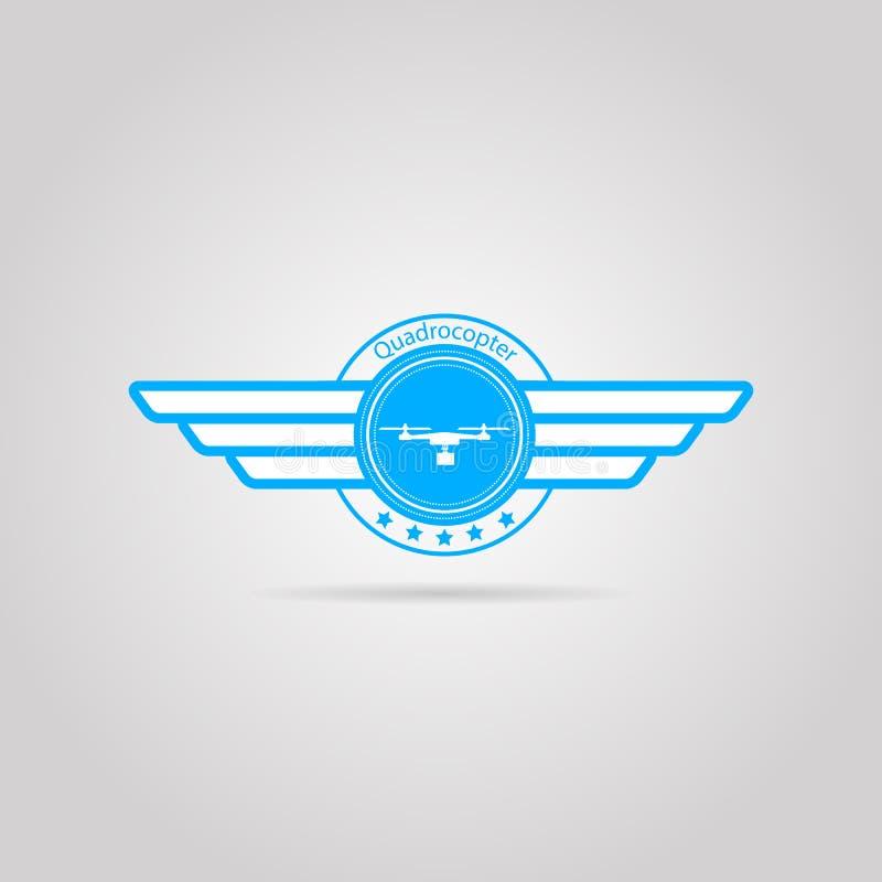 Sinal azul do quadrocopter com asas
