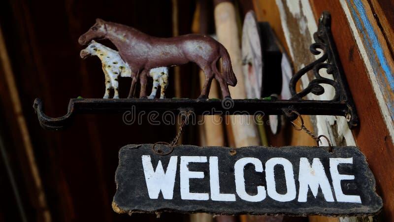 Sinal bem-vindo imagens de stock