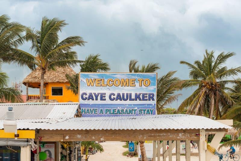 Sinal bem-vindo ao calafate Belize de Caye foto de stock