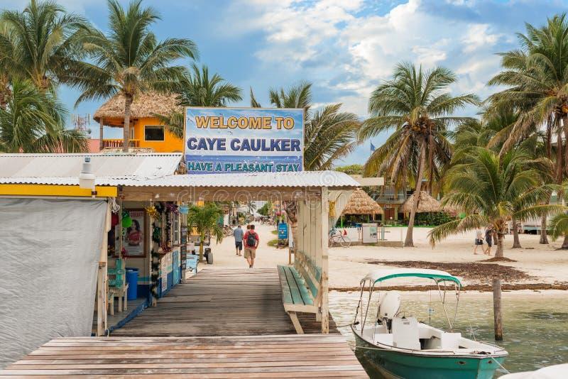 Sinal bem-vindo ao calafate Belize de Caye fotografia de stock