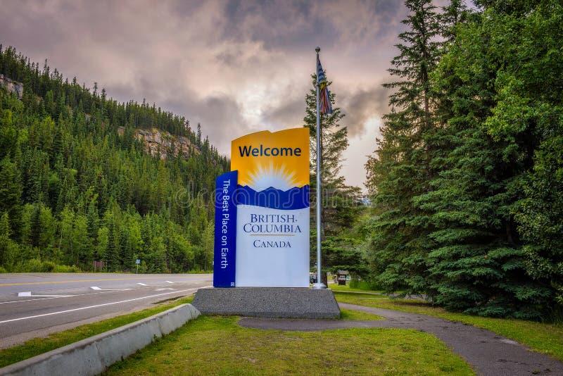 Sinal bem-vindo ao estado do Columbia Britânica de Canadá fotografia de stock royalty free