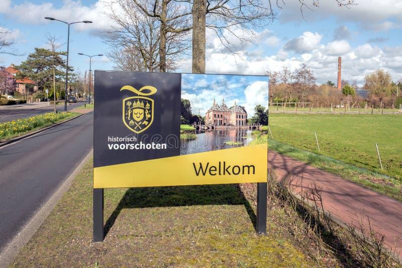 Sinal bem-vindo cultural promover a cultura em Voorschoten, Países Baixos fotografia de stock