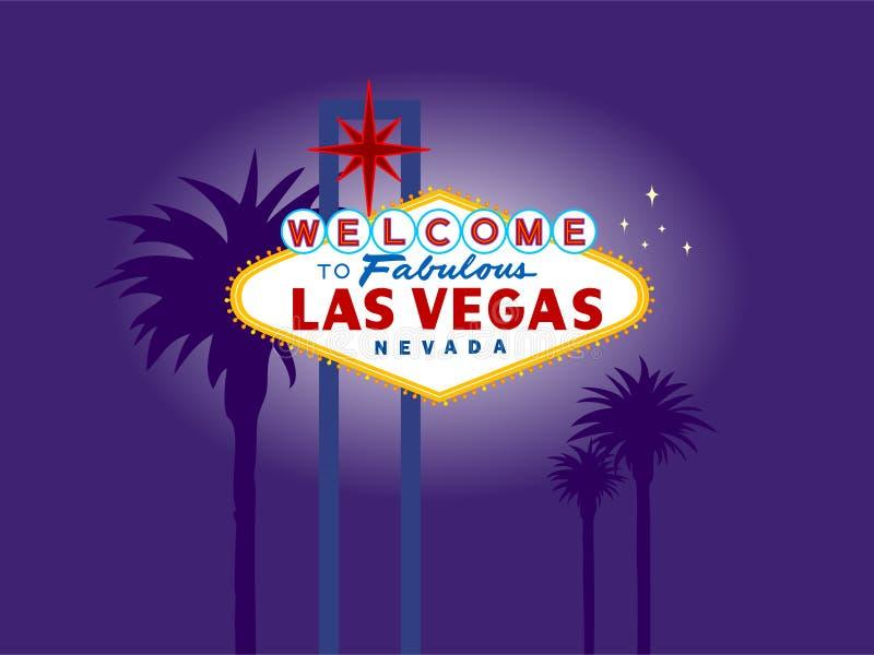 Sinal bem-vindo de Las Vegas na noite com palmeiras ilustração royalty free