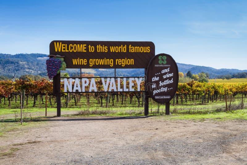 Sinal bem-vindo de Napa Valley fotos de stock royalty free
