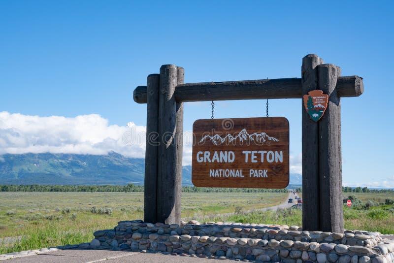 Sinal bem-vindo grande de parque nacional de Teton fotografia de stock royalty free
