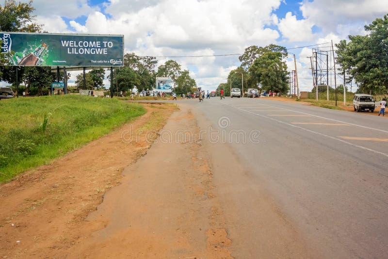 Sinal bem-vindo a Lilongwe em Malawi fotografia de stock