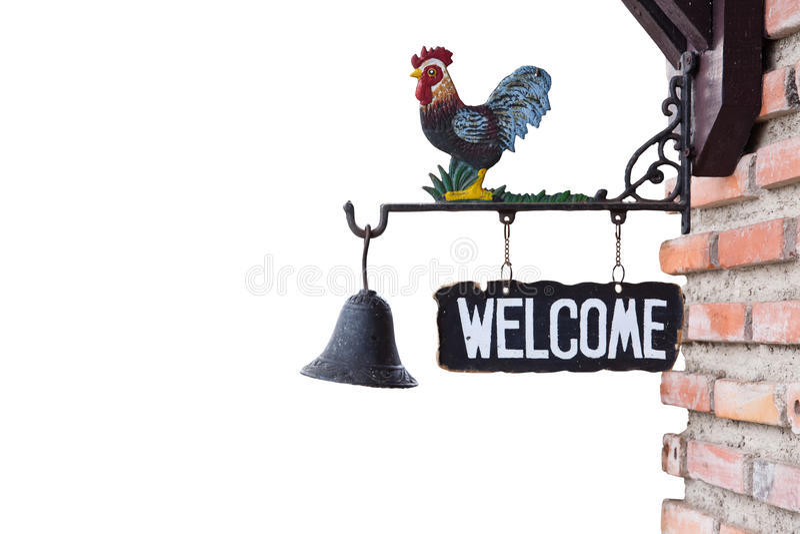 Sinal bem-vindo na parede imagens de stock