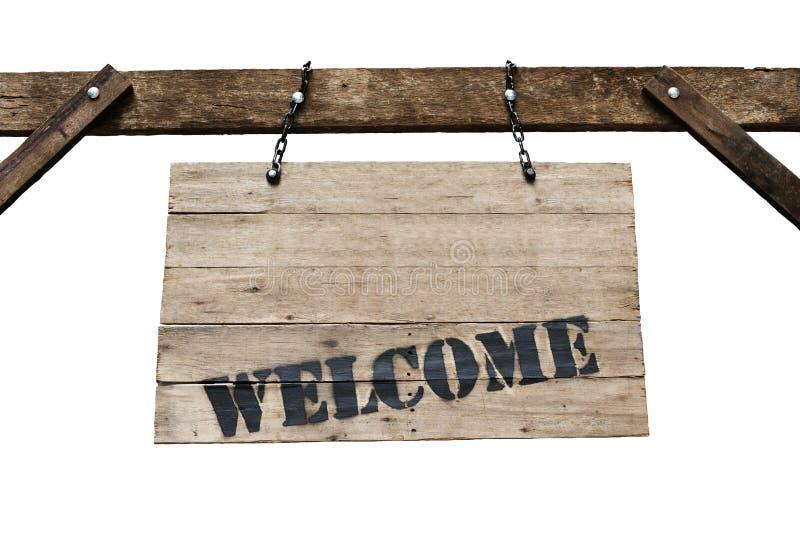 Sinal bem-vindo no quadro indicador de madeira velho com as correntes no backgr branco imagem de stock