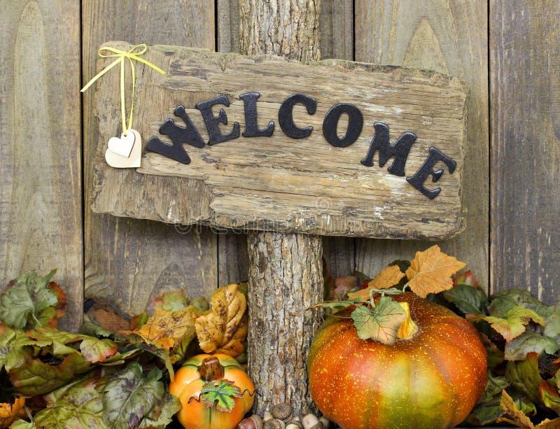 Sinal bem-vindo rústico com folhas de outono e beira da abóbora foto de stock