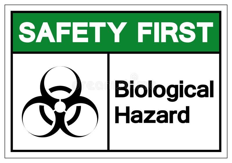 Sinal biol?gico do s?mbolo do perigo da seguran?a em primeiro lugar, ilustra??o do vetor, isolado na etiqueta branca do fundo EPS ilustração stock