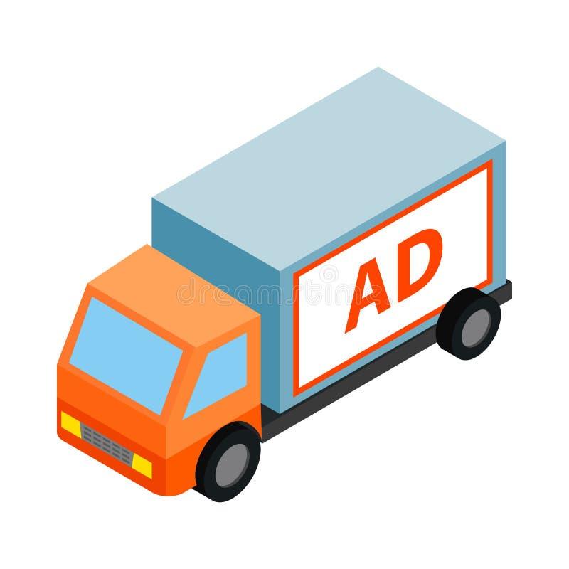Sinal branco para anunciar em um ícone do caminhão ilustração do vetor