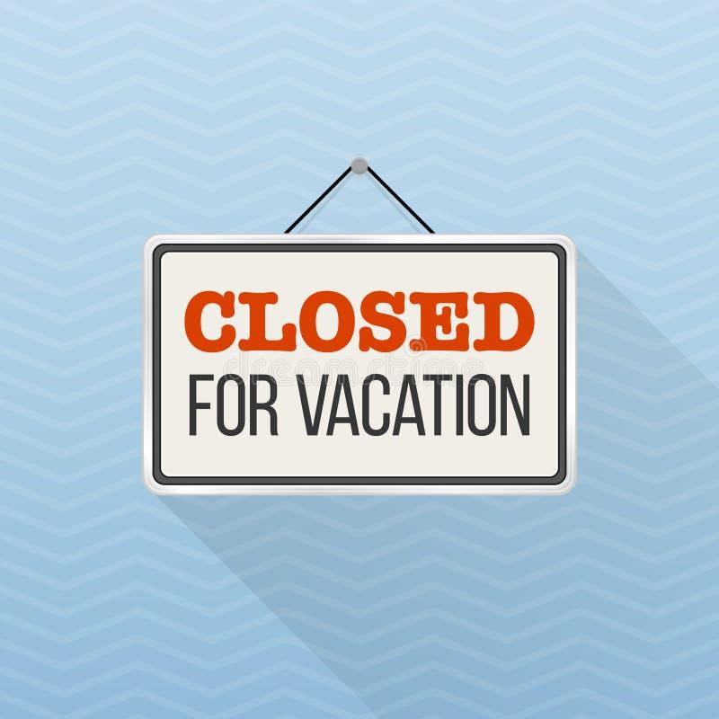 Sinal branco simples com o ` do texto fechado para o ` das férias que pendura em uma parede azul do escritório Molde interior do  ilustração do vetor
