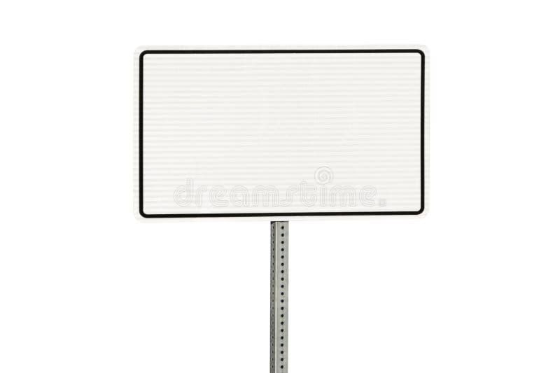Sinal branco vazio do sinal de estrada isolado com trajeto de grampeamento ilustração royalty free