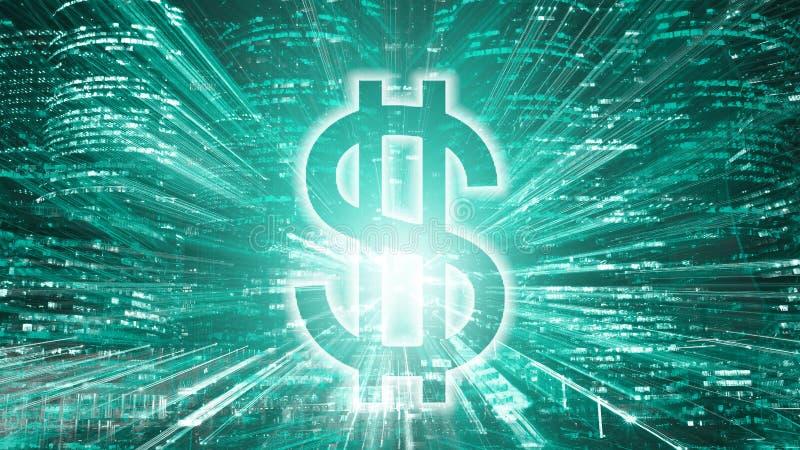 Sinal brilhante do dólar americano no fundo da cidade da noite imagens de stock royalty free