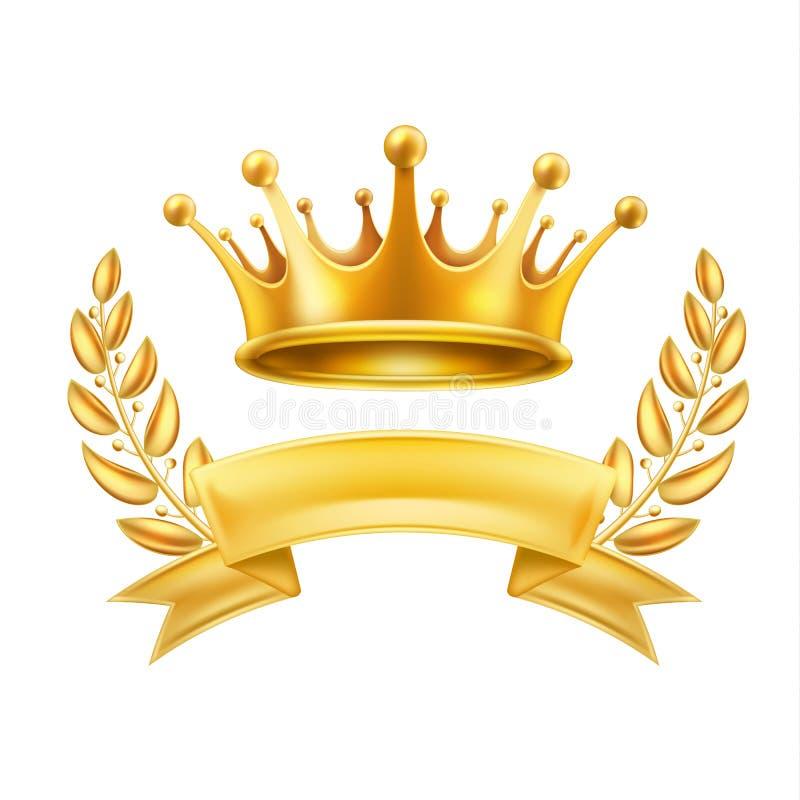 Sinal brilhante do vencedor da grinalda do louro da fita da coroa do ouro ilustração stock