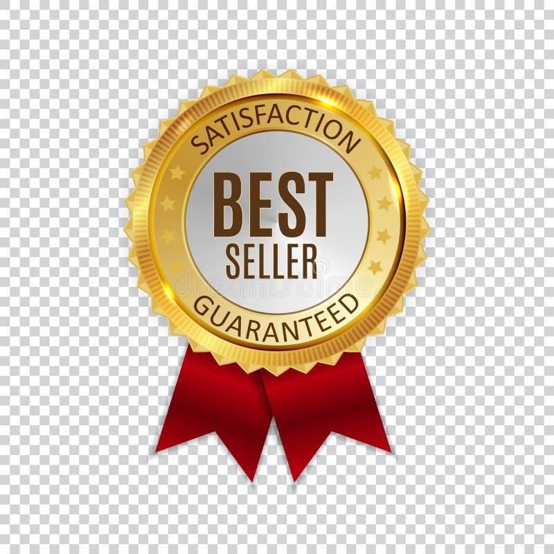 Sinal brilhante dourado da etiqueta do melhor vendedor Ilustração do vetor ilustração stock