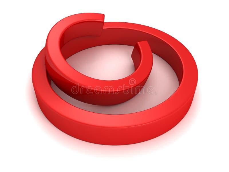 Sinal brilhante e lustroso vermelho dos direitos reservados que coloca em um fundo branco ilustração do vetor