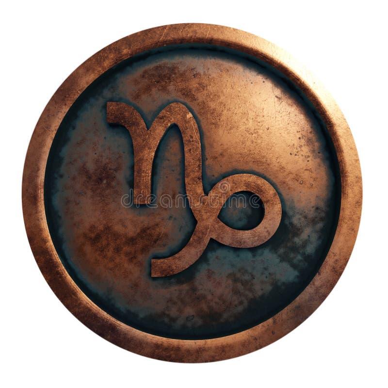 Sinal Capricon do horóscopo no círculo de cobre ilustração do vetor