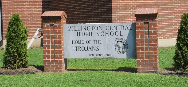 Sinal central da High School de Millington imagem de stock