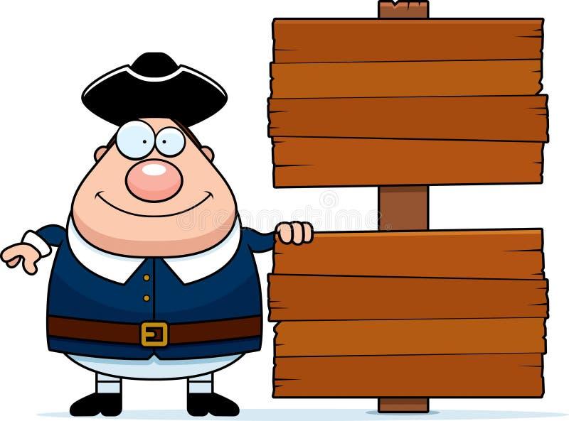 Sinal colonial do homem dos desenhos animados ilustração do vetor
