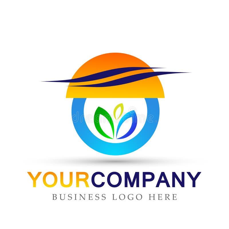 Sinal colorido do elemento do vetor do ícone do logotipo do sol da folha da planta do globo no fundo branco ilustração do vetor