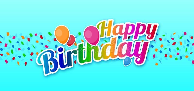 Sinal colorido do feliz aniversario com os balões sobre confetes ilustração do vetor