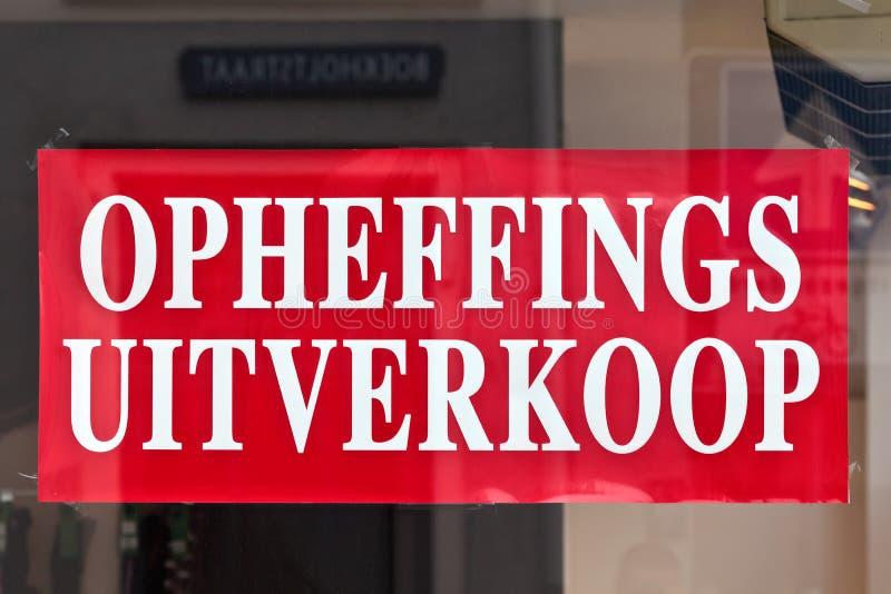 Sinal com o texto holandês fotografia de stock royalty free