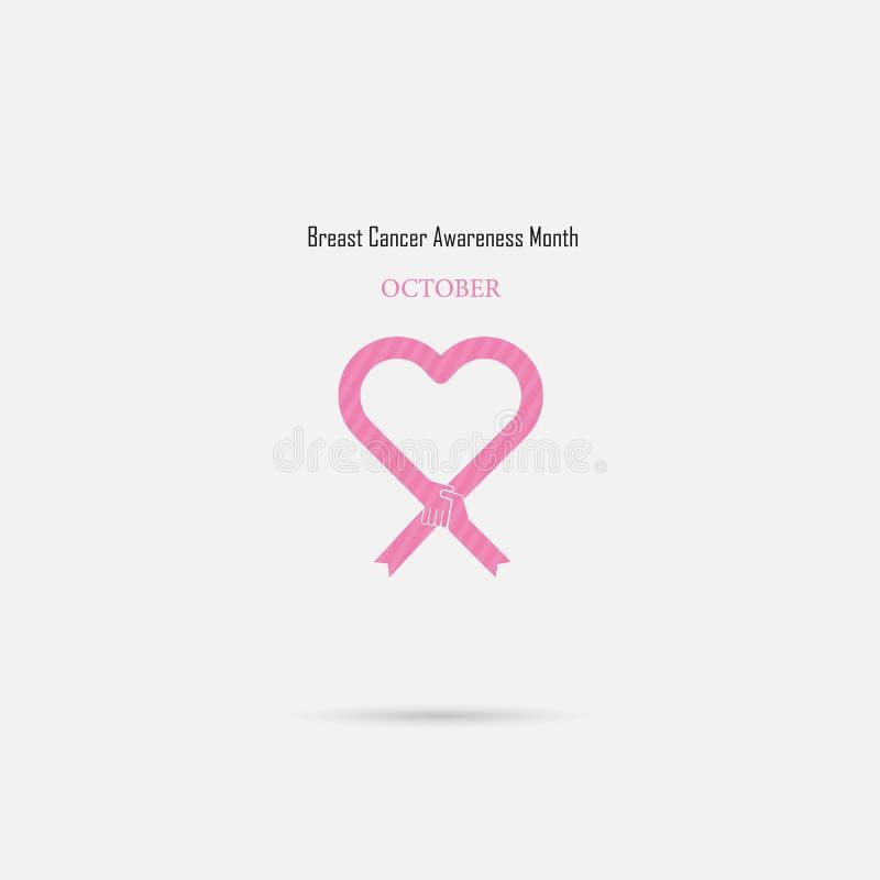 Sinal cor-de-rosa da fita do coração Came do mês da conscientização de outubro do câncer da mama ilustração royalty free