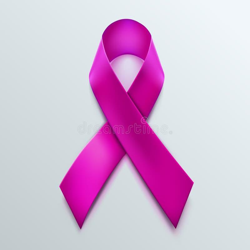 Sinal cor-de-rosa da fita Símbolo da conscientização do câncer da mama no fundo branco ilustração do vetor